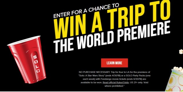 2018 Solo Cup Epic Solobration Sweepstakes – Stand Chance to Win A Trip To Los Angeles For The Red Carpet Premiere