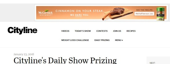 Cityline's Daily Show Prizing Contest- Chance To Win One Of The Daily Prizes