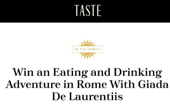 Taste Giada's Italy Sweepstakes-Chance To Win An Eating And Drinking Adventure In Rome, One signed copy of Giada's Italy, Williams Sonoma's collection of Giada's products