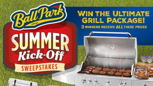 Ball Park Buns & Patties Summer Kick-Off Sweepstakes – Stand Chance To Win A Yeti Roadie 20 Cooler, Ball Park Buns Coupons, A BBQ tool set, A Coleman Tailgating Portable Grill