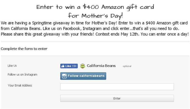 California Beans Mother's Day Giveaway – Stand Chance To Win A $400 Amazon Gift Card