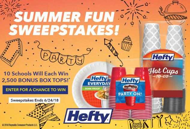 General Mills Hefty Summer Fun Sweepstakes – Stand Chance to Win 2,500 Bonus Box Tops Prize