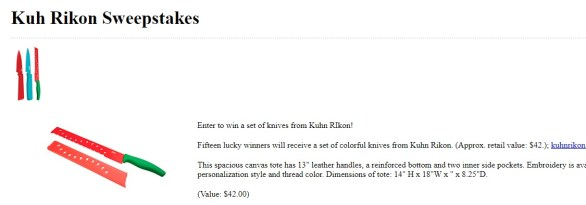 Woman's Day Kuhn Rikon Sweepstakes – Stand Chance To Win A Set Of Colorful Knives From Kuhn Rikon