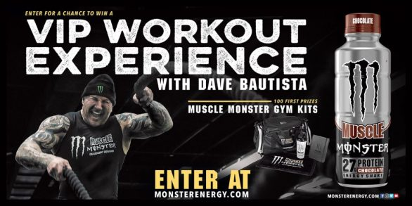 Monster Energy VIP Workout Experience with Dave Bautista Sweepstakes - Enter To Win VIP Workout Experience with Dave Bautista, Trip, Spending Money