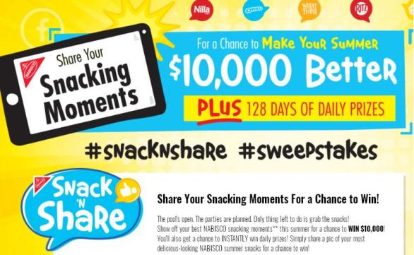 Nabisco Snack 'N Share Instant Win Game Sweepstakes – Stand Chance to Win $10,000, A Nabisco Photo Basket