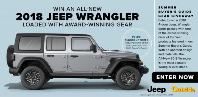 Outside Magazine Summer Buyer's Guide Gear Giveaway - Chance To Win A Jeep Wrangler Sport S Vehicle, Tent, $110 Chaco Gift Card