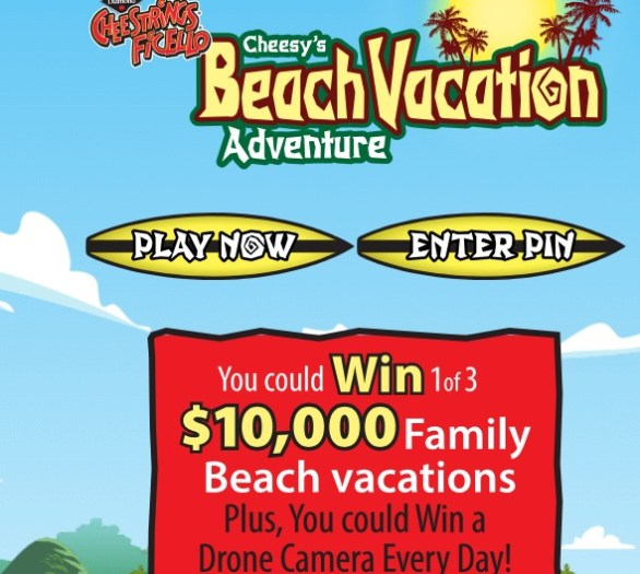 Cheestrings Cheesy's Beach Vacation Contest-Enter To Win Family Beach Vacation, Round trip, $1,200 CDN spending money