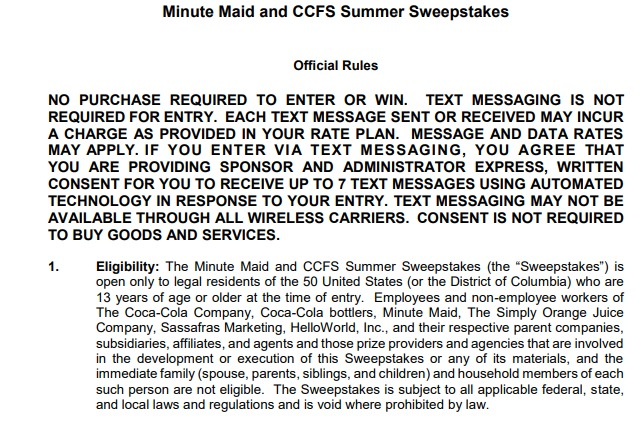 Minute Maid and CCFS Summer Sweepstakes - Enter To Win $30 Fandango Digital Gift Card
