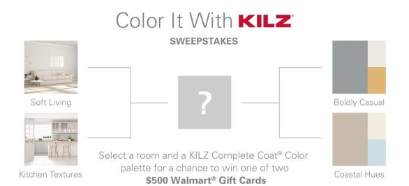 Color It With KILZ Sweepstakes - Chance To Win $500 Walmart Gift Card