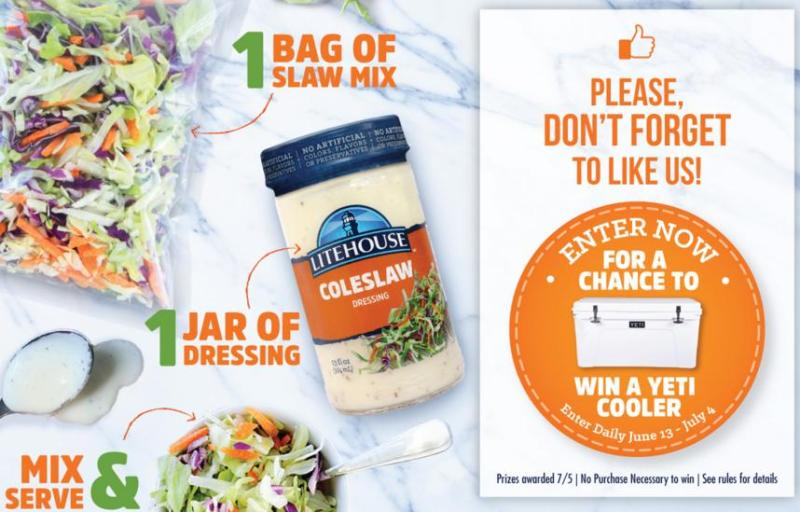 Litehouse Foods Coleslaw Sweepstakes – Chance To Win A Yeti Cooler Prize