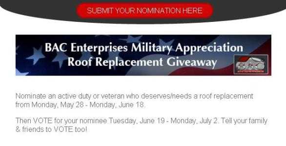 BAC Enterprises Military Appreciation Roof Giveaway – Stand Chance To Win $15,000 Gift Certificate For A Roof Replacement