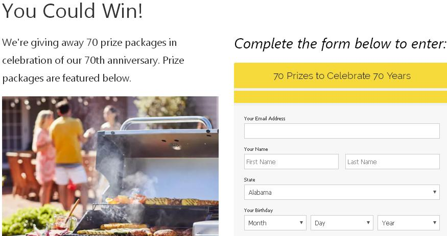 Char-Broil 70th Anniversary Sweepstakes – Stand Chance To Win Prize Packages