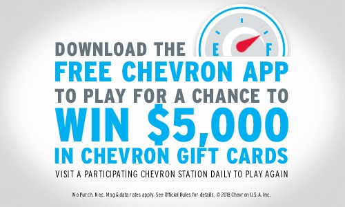 Chevron Unbeatable Milage Instant Win Game - Enter To Win $5,000 in Gift Cards