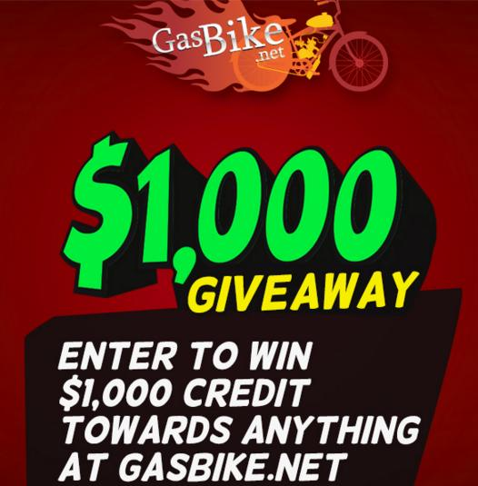Gasbike.net $1,000 Giveaway – Stand Chance To Win $1,000 Credit Prize
