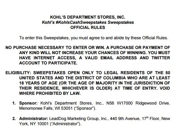 Kohl's Cash Twitter Sweepstakes – Stand Chance To Win A $50 Kohl's Cash Coupon