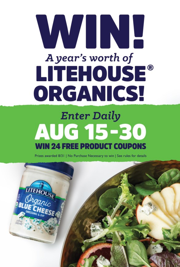 Litehouse Build A Better Salad with Litehouse Organics Sweepstakes - Chance To Win 24 Free Product Coupons