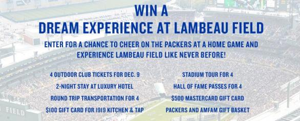 American Family Insurance Sweepstakes - Enter For Chance To Win Dream Experience At Lambeau Field