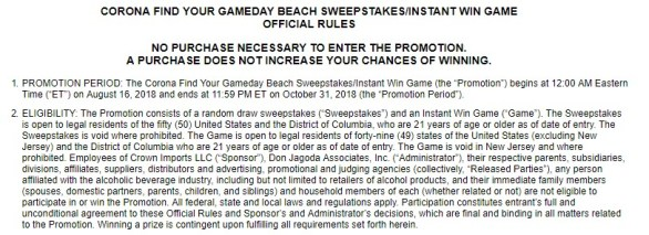 Corona Beer Gameday Beach Sweepstakes - Stand To Win A Trip To Las Vegas