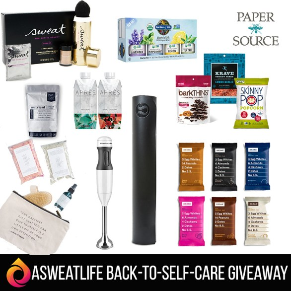 The aSweatLife Back to Self Care Sweepstakes - Enter To Win Lululemon Yoga Mat And KitchenAid 2-Speed Hand Blender