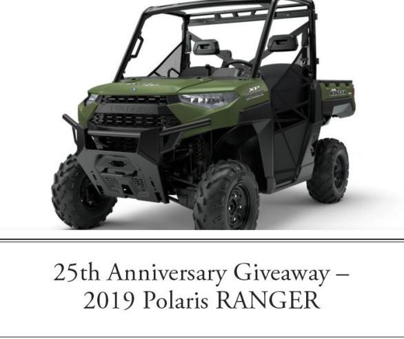 25th Anniversary 2019 Polaris Ranger Holiday Giveaway – Win A 2019 Polaris RANGER XP