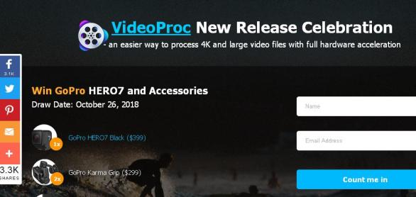 GoPro And Accessories With VideoProc Sweepstakes – Win GoPro HERO7