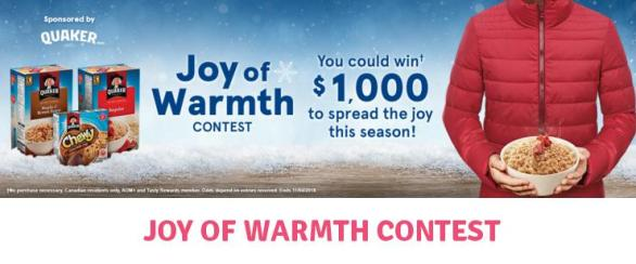 Quaker Joy Of Warmth Contest – Win A $1,000 Cash Prize