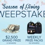 The Season of Giving Sweepstakes – Win $2,500 Scholarship