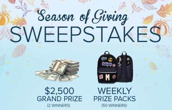 The Season of Giving Sweepstakes – Win $2,500 Scholarship