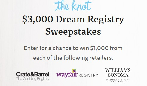 The Knot $3,000 Dream Registry Sweepstakes - Chance To Win $1000 Crate & Barrel Gift Card