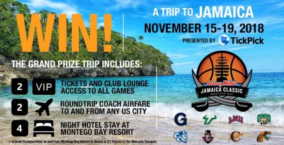 TickPick 2018 Jersey Mike's Jamaica Classic Sweepstakes – Win A Grand Prize Trip