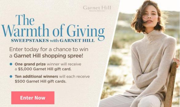 Traditional Home The Warmth Of Giving Sweepstakes – Win $5,000 Garnet Hill Gift Card