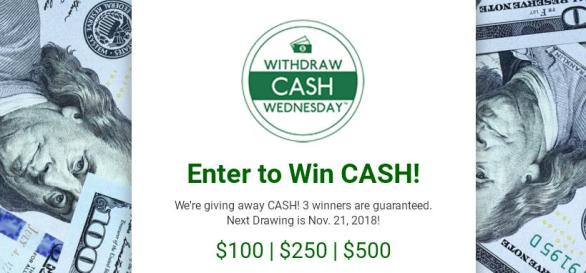 Withdraw Cash Wednesday Holiday Cash Giveaway – Win $100, $250, $500 Cash