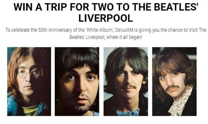 Visit The Beatles Liverpool SiriusXM Sweepstakes
