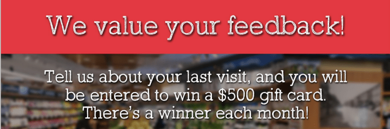 Foodtown Customer Feedback Survey Sweepstakes – Win $500 Gift Card Per Month