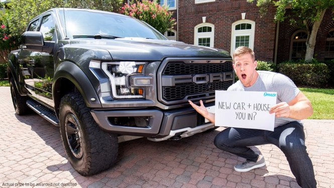 Omaze JJ Watt Sweepstakes - Stand To Win $100,000 USD And A 2019 Ford F-150 Raptor