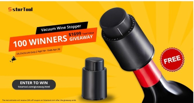 5StarTool Vacuum Wine Stopper Giveaway
