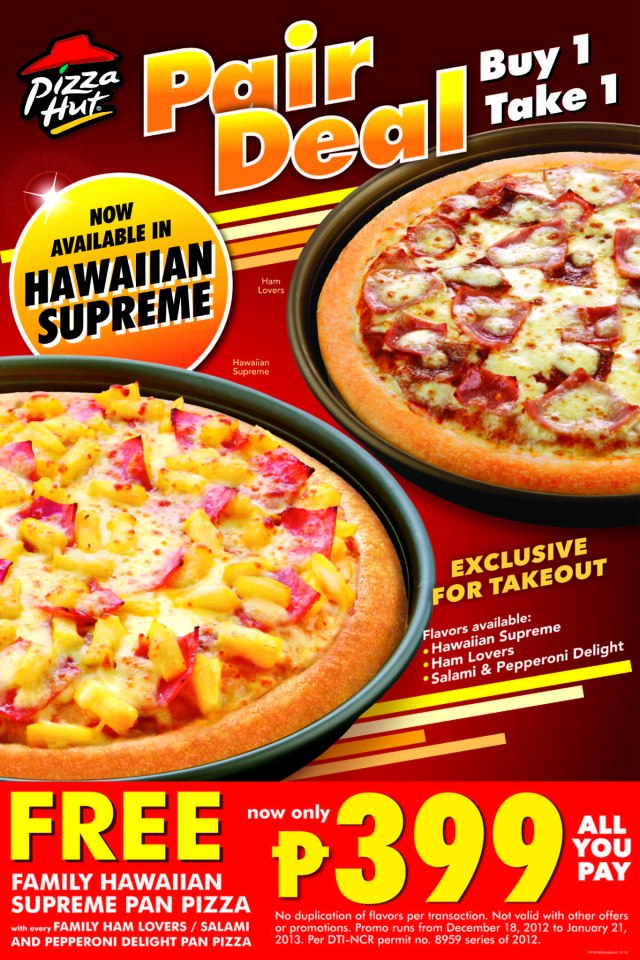 Get a large 3-topping or specialty pizza, 1 side, and a 2-liter bottle of soda for only $15 with this Pizza Hut coupon code. Valid at participating locations only; see your local Pizza Hut for breakagem.gqon: Fremont Boulevard, , CA.