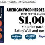 Eating Well American Food Heroes Sweepstakes – Win $1,000 Prizes