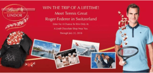 Win Trip of a Lifetime Meet Tennis Great Roger Federer – Lindt Meet Roger Federer Sweepstakes