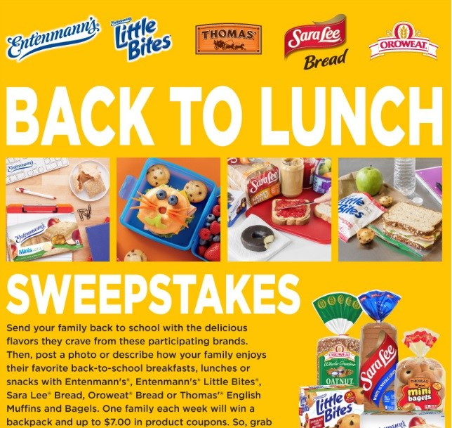 Sara Lee Bread's Back to Lunch Sweepstakes