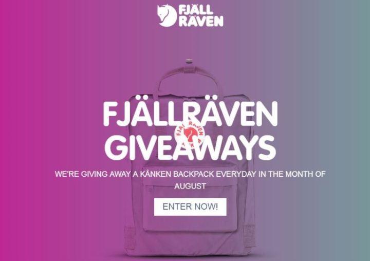 Fjallraven Kanken Giveaway - Win A Kanken Backpack Everyday in Aug