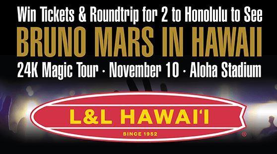L&L Hawaiian Barbecue Bruno Mars in Hawaii Sweepstakes - Win