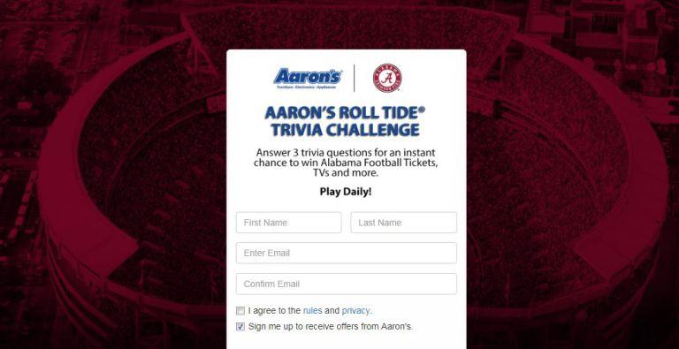 Aarons Roll Tide Trivia Challenge Sweepstakes