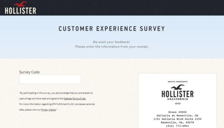 Hollister Customer Experience Survey Sweepstakes