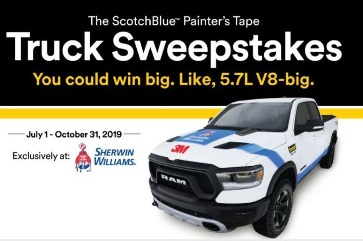 3M ScotchBlue Painters Tape Sweepstakes - Win Truck