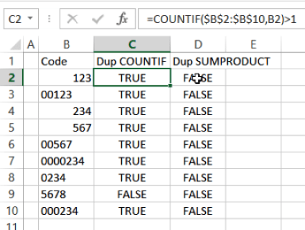 false duplicates with COUNTIF