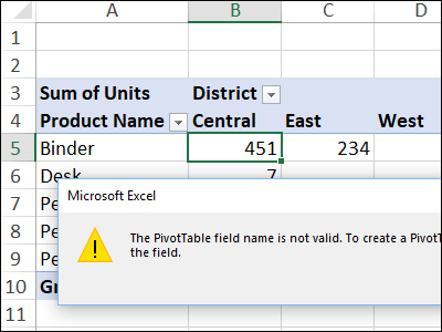 Excel Pivot Table Errors