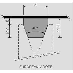 European V-Rope, width 20mm
