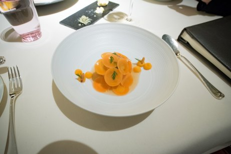 Dallmayr, Restaurant in Munich: Confit scallops from Norway, ponzu vinaigrette, pine nut panna cotta