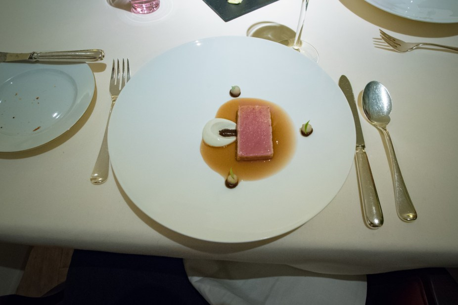 Dallmayr, Restaurant in Munich: umeboshi tea sauce, otoro, nashi pear, Greek yogurt